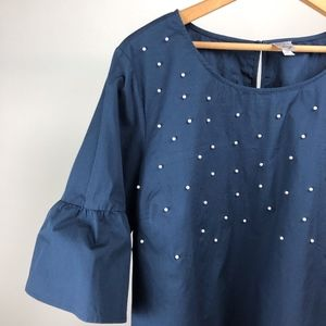 Navy Blouse with Pretty Pearls